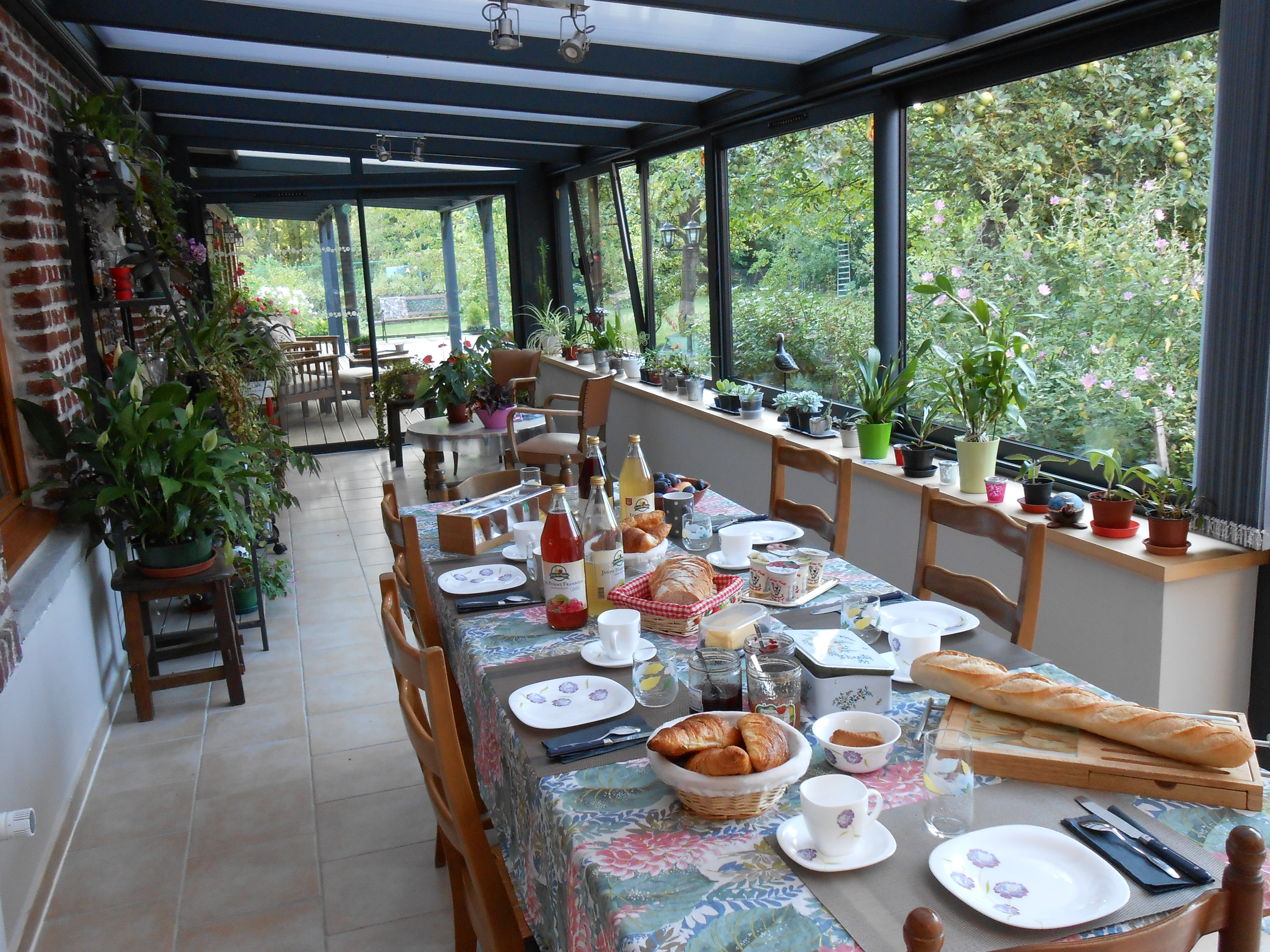 Accueil- véranda -petit dejeuner